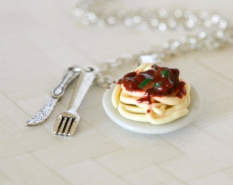 Pasta Bolognese plate necklace made of Polymer clay miniature food jewelry