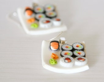 Sushi  earrings dollhouse food Polymer clay miniature food jewelry