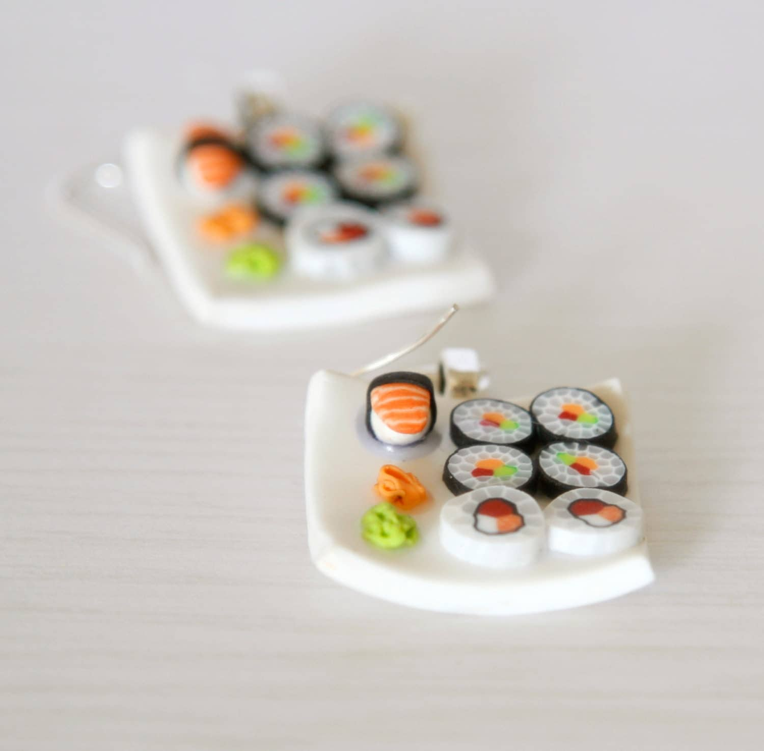 Sushi earrings dollhouse food polymer clay miniature food for Polymere cuisine