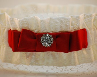 Soft White and Red Silk Couture Garter with Birdcage Netting and Vintage Rhinestones