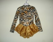 Ice Skater Dress - Warm Fleece Tiger or Leopard Print & Gold or Black Crushed Velvet Skirts ALL SIZES