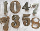 Old Antique Metal House Numbers, Group of 8, Lot of Eight, Patina, Salvage, Shabby, Graphic