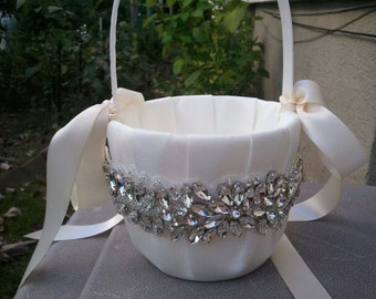 Wedding Flower Basket, Flower Girl Basket, Rhinestone Flower Basket  - Style BK1006