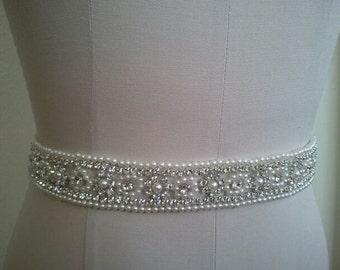SALE - Wedding Belt, Bridal Belt, Sash Belt, Crystal Rhinestone & Off White Pearls - Style B30099