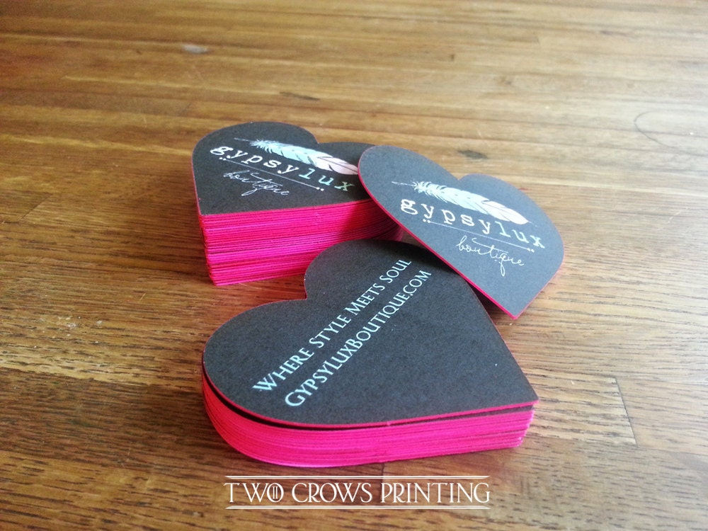 heart shaped edge painted business cards die cut corners