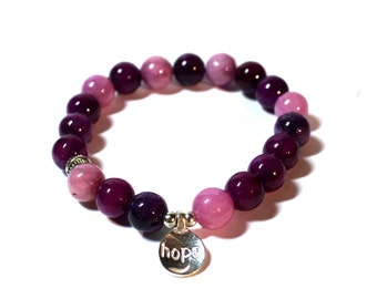Yoga Bracelet - Hope Charm, charm bracelet - meditation bracelet, purple Beads Bracelet, Boho Spiritual Jewelry, Zen Jewelry