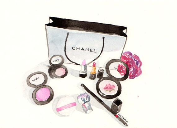 Chanel make-up Watercolor Make-Up illustration