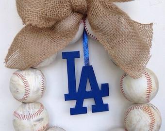 Los Angeles Dodgers Burlap Baseball Wreath