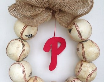 Philadelphia Phillies Burlap Baseball Wreath