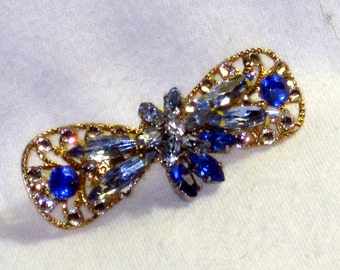 Blue and Gold Rhinestone Artisan Brooch from Vintage