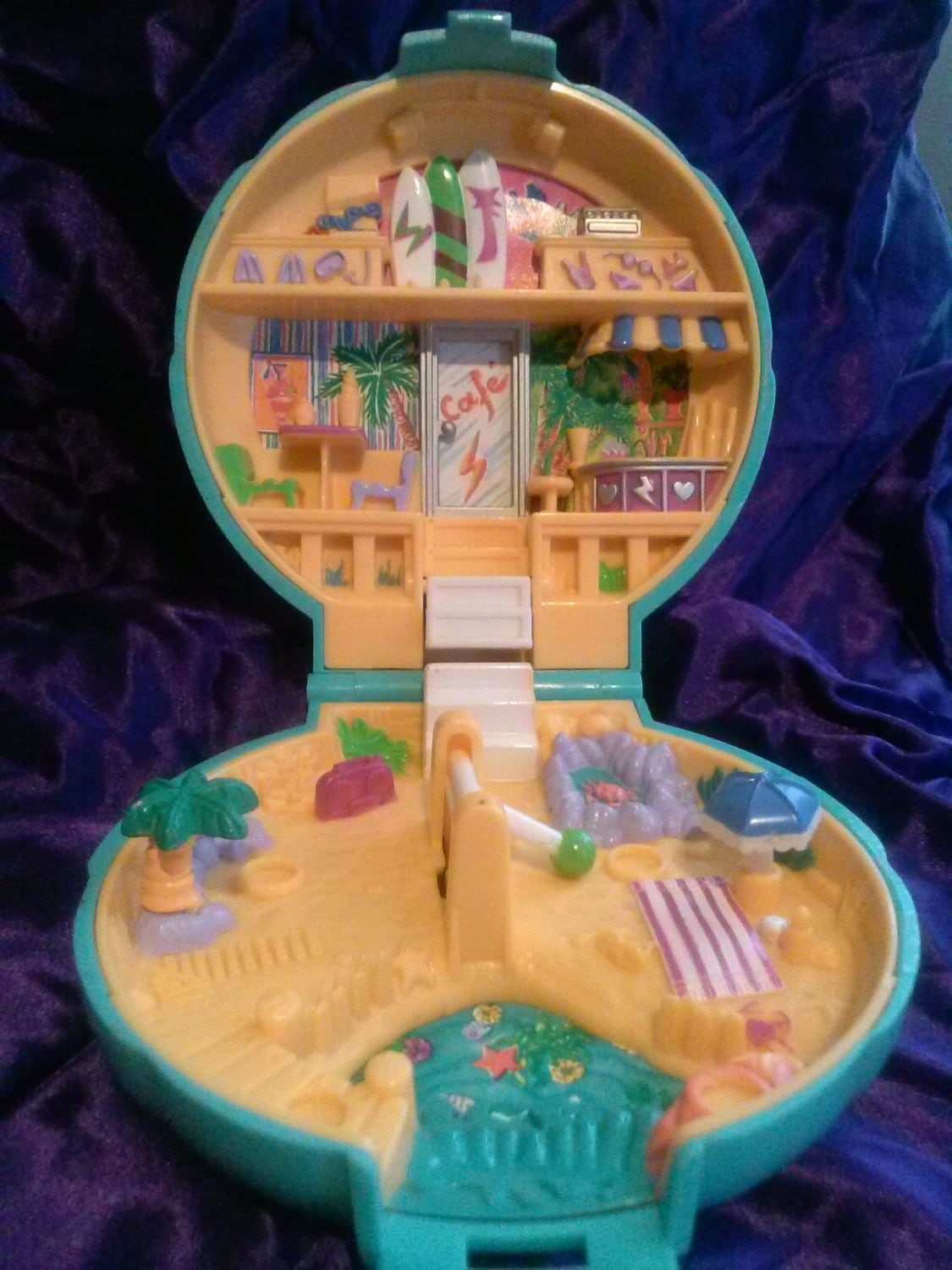 Polly Pockets For Sale: Vintage Polly Pocket Cafe Beach Seashell Compact Play Toy Blue