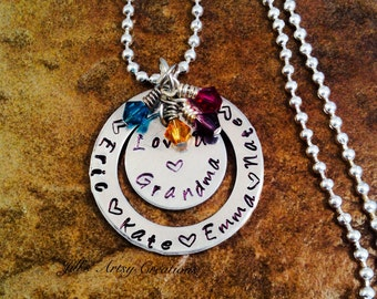 Personalized Necklace, Hand Stamped Necklace, Grandma Necklace, Gift Necklace, Grandchildren Necklace, Aluminum Jewelry