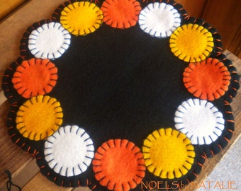 Candy Corn Scalloped Candle Mat