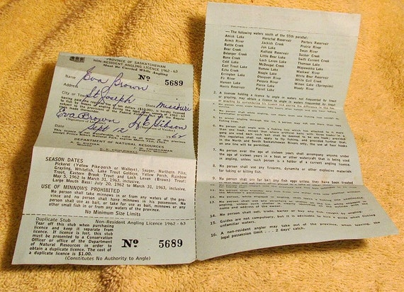 1962 Saskatchewan Canada Fishing License Canadian Big Game