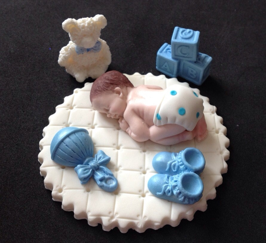 Cake Toppers Baby Boy : Fondant baby boy on white blanket cake topper for Baby Shower