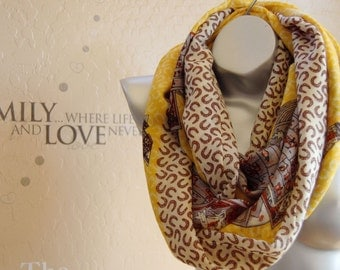 Gift  for her!100% Wool infinity scarf,Very cute yellow print scarf, Birthday gift,handmade scarf,Modern Wool scarf