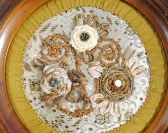 Golden Roses Beaded Fabric Art
