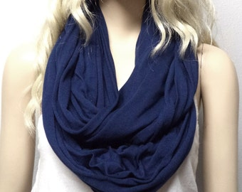 Dark NAVY BLUE   Infinity Scarf SUPER Soft Jersey Knit