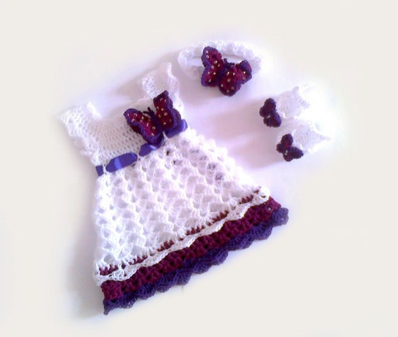 Dress Crochet Dress Newborn Dress Baby Dress, Butterfly Dress Baby ...