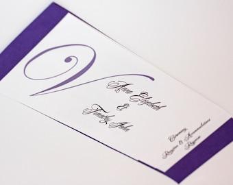 4 PAGE - Horizontal Layered Wedding Program - WE Personalize, YOU Print - Monogram Style