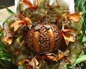 Fall Deco Mesh Wreath with Metal Pumpkin