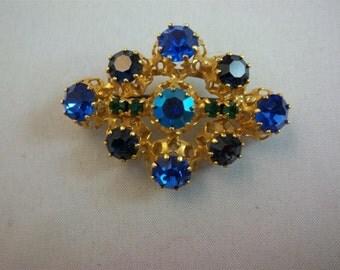 Sale     Vintage Austrian Blue Rhinestone Brooch