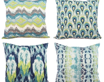 One Blue and Green Ikat Pillow Cover - Decorative Pillow - Blue Ikat Pillow - Green Ikat Pillow - Ikat Pillow Covers