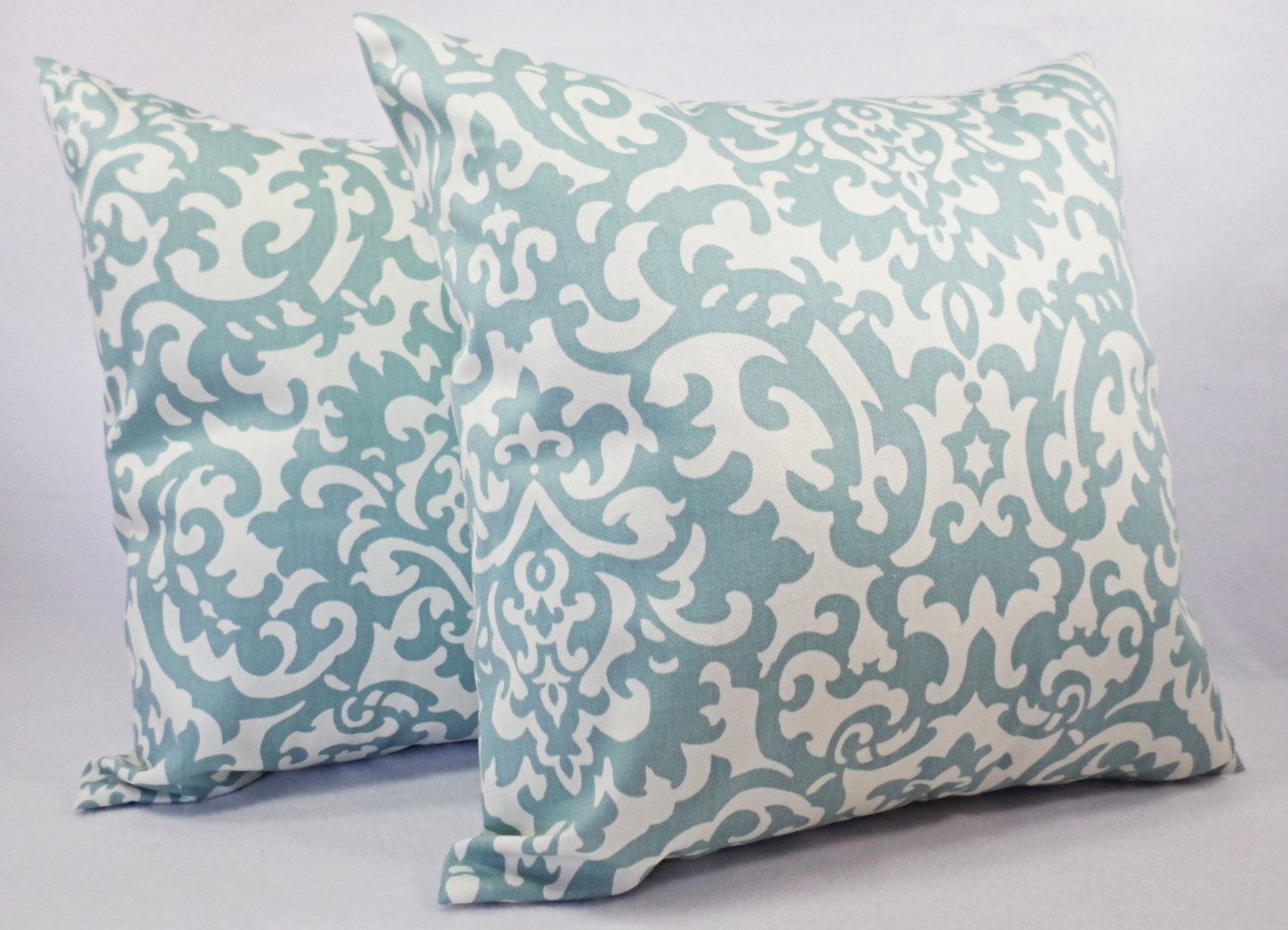 Throw Pillows Damask : Damask Pillow Covers Spa Blue Throw Pillows by CastawayCoveDecor