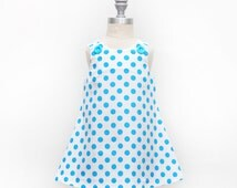 Neon Blue Polka Dot Jumper Dress - Girls Clothing - Neon Trend - Polka Dot Dress - Aqua Blue - Easter Dress - Coordinating Siblings