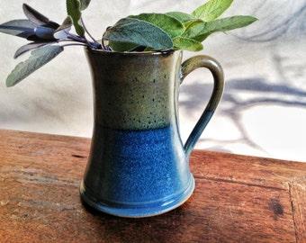 Handmade Coffee Cup, Blue and Brown Pottery Mug