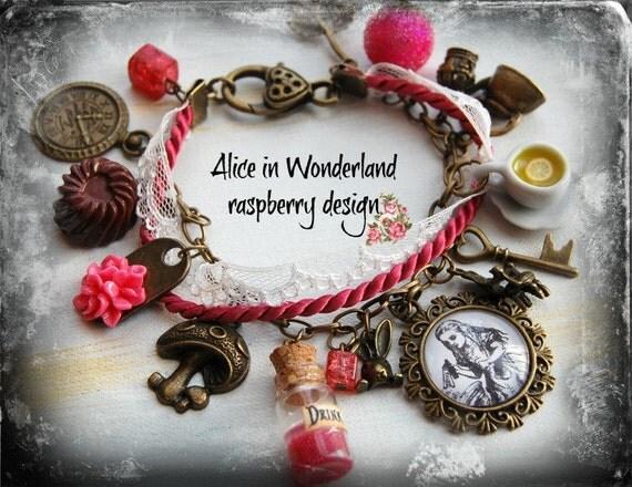 Alice in Wonderland Jewellery bracelet  handmade Gift- Raspberry -eat me drink me mini glass bottle Fimo