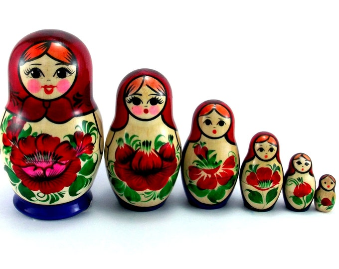 Nesting Dolls 6 pcs Russian Stacking Matryoshka doll for kids Babushka set Wooden authentic russian matryoshka Suvenirnaya