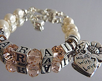 Personalised Christening / New Baby Bracelet with Swarovski Pearls and Sterling Silver Alphabet Beads
