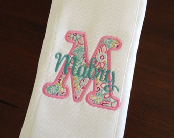 Burp cloth with applique initial and name
