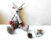 Christmas Reindeer Fabric Soft Toy Room Decoration eco friendly natural materials gray red white linen cotton - 5lovebirdsnest