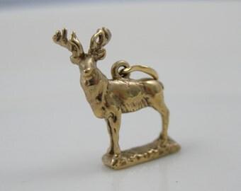 Standing, Royal Elk, Detailed Gold Charm or Pendant CHGD196-D