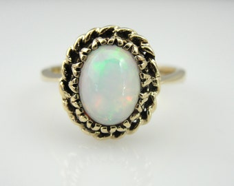 Sweet and Classic Ladies Ring with Fine Ethiopian Opal 1ZCN9N-D