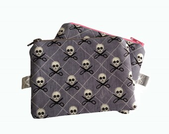 Mini zipper pouch Quilt Pirates grey