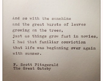 The Great Gatsby Quote Typed on Typewriter
