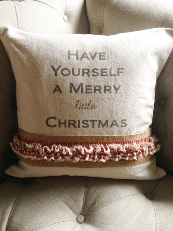 "20"" Have Yourself A Merry Little Christmas Pillow Cover"