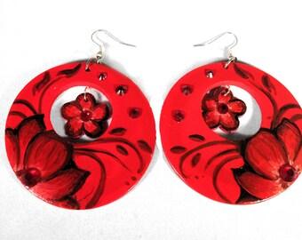 Red Flower Handpainted Earrings