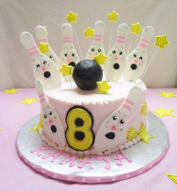 BOWLING Theme Edible Fondant Cake Decorating Kit