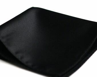 POCKET SQUARES in Solid Black Satin