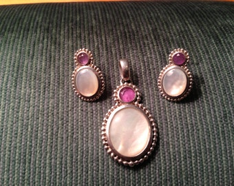 Amethyst and Mother of Pearl Sterling Silver Pendant and Earrings Set