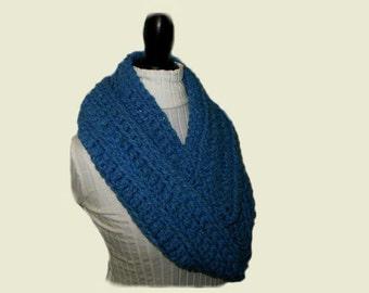 Infinity Scarf Cowl Extra Long Infiniti Scarf Blue Chunky Crochet Wool Bright Blue