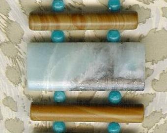 Bracelet - Amazonite, Agate, Wood Jasper, Sterling Silver