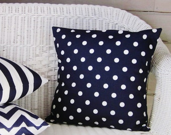 Navy Blue Polka Dot Pillow Cover Decorative Throw Accent Toss Pillow 16x16 18x18 20x20 22x22 12x16 12x18 12x20 14x22 Indigo Midnight Zipper