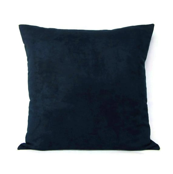 Navy Blue Suede Pillow Cover Decorative Throw Accent Toss Sofa