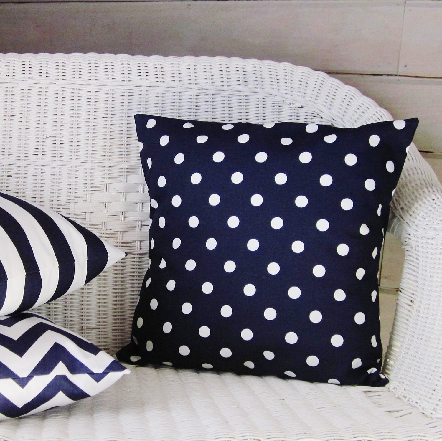 Navy Blue Polka Dot Pillow Cover Decorative Throw Accent Toss