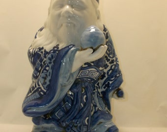 A superb 20TH century Chinese blue and white Figurine statue huge finely painteg with impressed chop mark RARE HUGE excellent condition